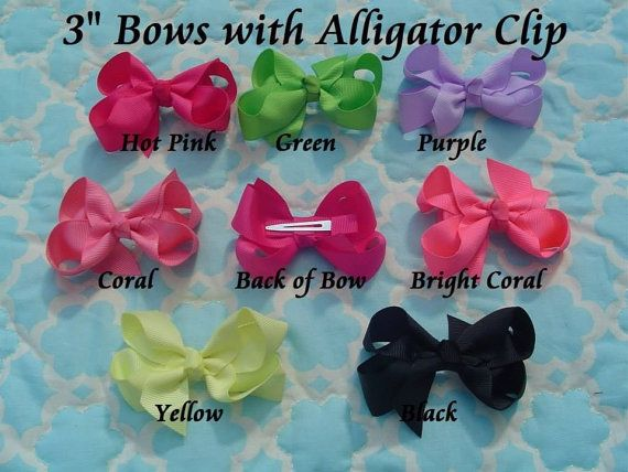 Set of FIVE 3 inch hair bows attached to an alligator clip on Etsy, $4.99