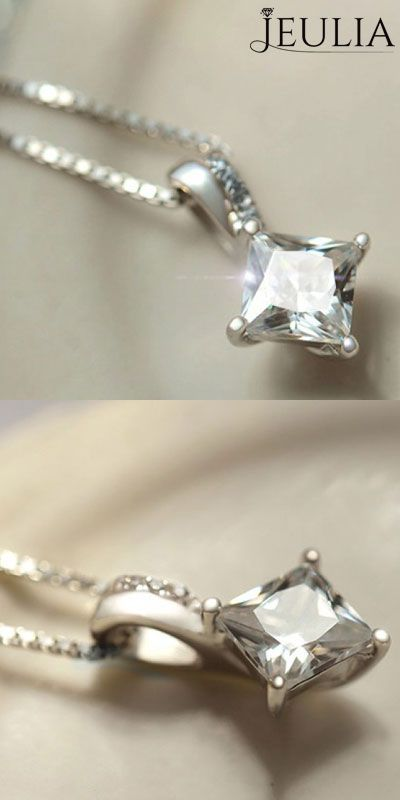 Nice Square 925 Sterling Silver with Zircon Women's Necklace from #jeulia