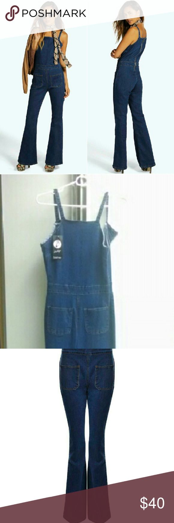 """Boohoo Stretch Body Con Boho Jumper Overalls Boohoo Boutique Ella Flared Leg overall style jumpsuit   New w tag Size US 2 - UK 6 back zip - front pockets I'd say true to size 2. I wear 4 and it's just too snug to flatter. so cute - wish it fit me well. meas.(laid flat, not stretched) armpit 15.5"""" waist 12.5"""" hip: 16"""" inseam: 33""""  retail $54 + tax/ship  condition - has 1 or 2 very pale marks on the leg -probably just from storage brushing on floor. reminds me of the Pylo Lady bird jumper from…"""