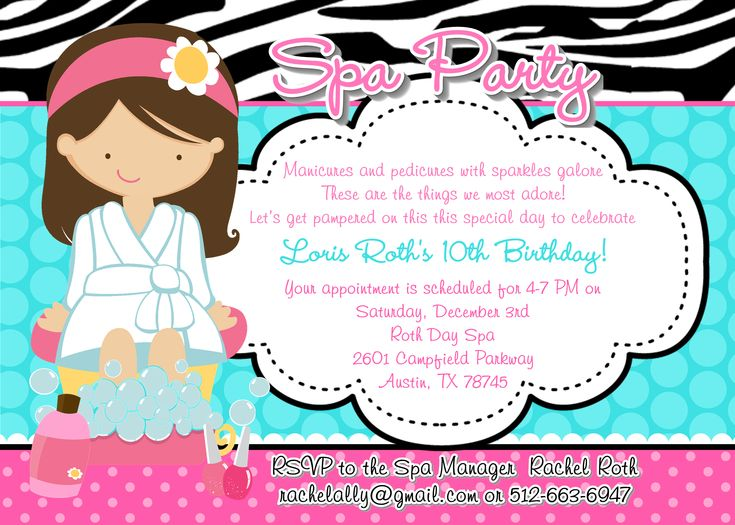 75 best images about spa de nenas – Girls Spa Party Invitations