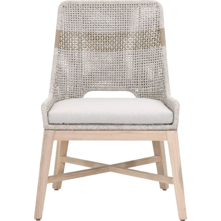 Efl tapestry outdoor dining chair taupe white rope set of