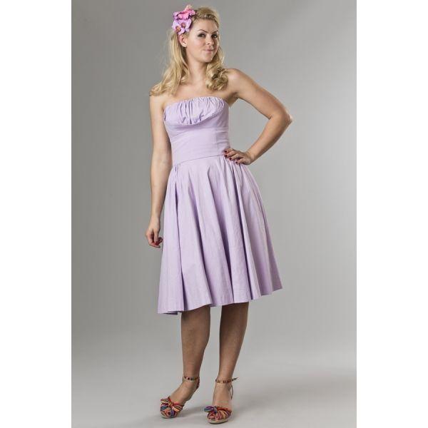 Abito da cocktail color lavanda ideale per le calde giornate estive, valorizza la silhouette in un perfetto stile anni '50!