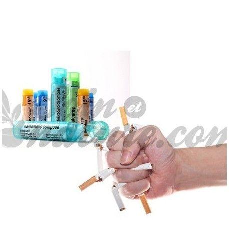 Kit homéopathie stop tabac avec 1 tube granule de: Lobelia inflata 5CH Nux vomica 5CH Argentum nitricum 9CH Caladium 5CH Gelsemium 9CH en vente dans votre pharmacie bio en ligne.