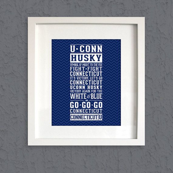 UCONN Fight Song Print UCONN HUSKY  University of by LoubeeDesigns
