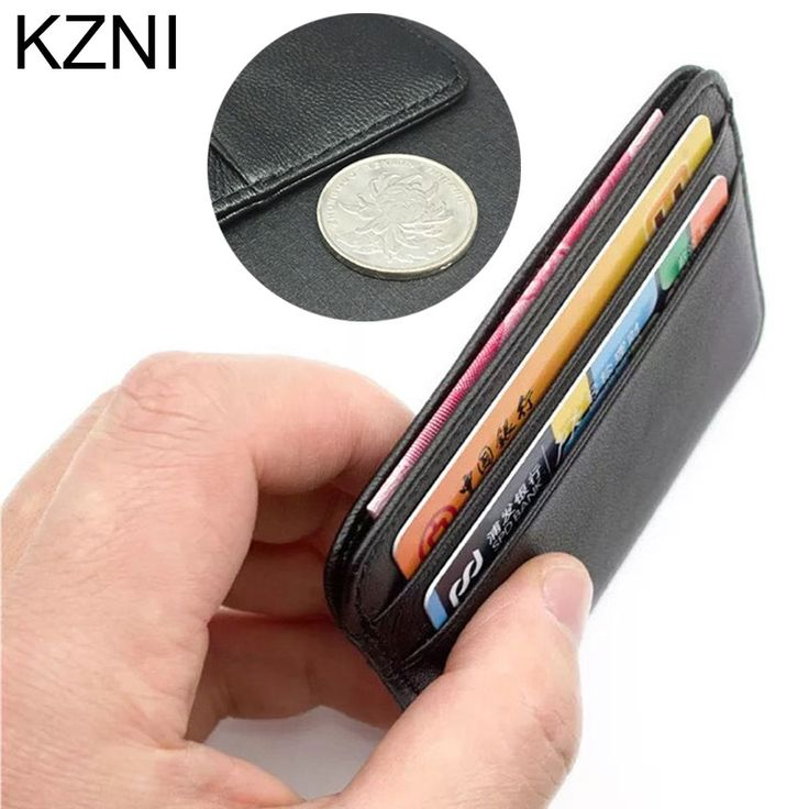 Kzni 100% Genuine Leather Coin Purses Holders credit card holder leather thin bank card holder wallet men thin Card ID Holders