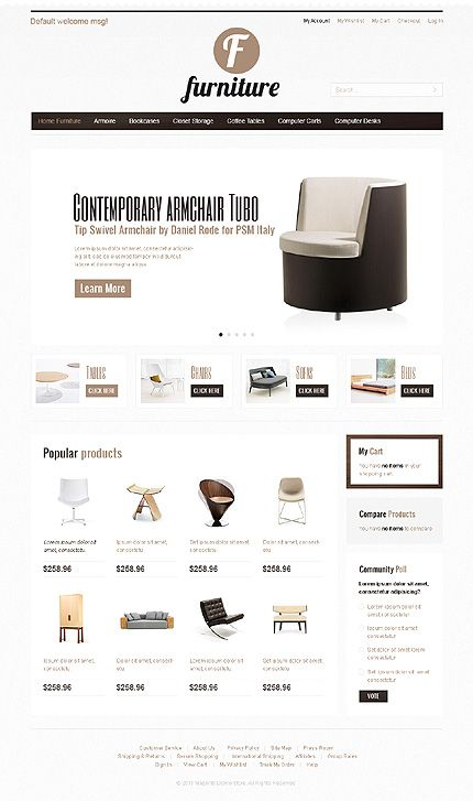 If you are looking for a light and clean layout for your furniture store, then this can be one of your options. #Magento