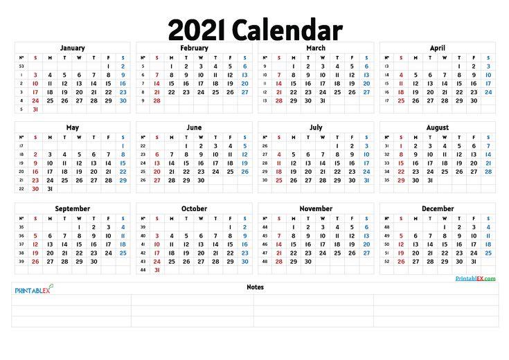 Free Cute Printable Calendar 2021 Calendar With Week Numbers 12 Month Calendar Printable Yearly Calendar Template