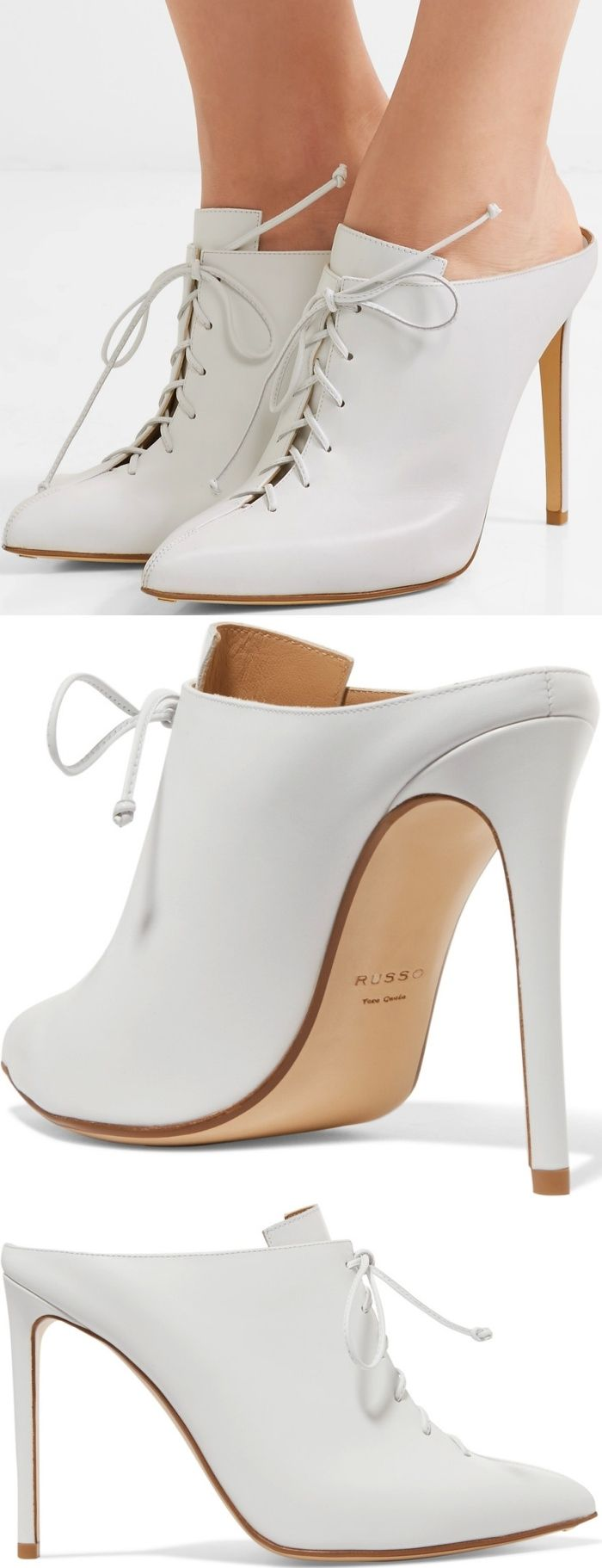 Add a Victoriana touch to your outfit with these white slip-ons from Francesco Russo. Crafted from smooth calf leather, these shoes feature lace-up details, pointed toes, high heels and a sleek silhouette.