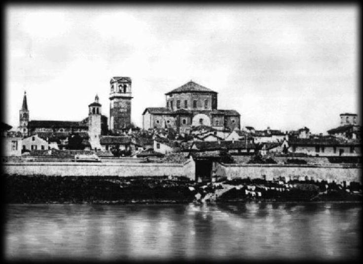 Pavia dal Borgo Ticino nell'Ottocento (sicuramente pre 1884)