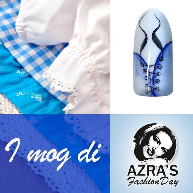 "abc nailstore präsentiert:  Azra's Fashion Day: Zünftige Festnägel Nailart ""Dirndl"" #Oktoberfest #muinch #dirndl #blau #weiß #nails #nailart #fashion"