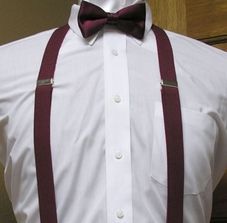 Burgundy Suspenders And Bow Tie Either Grey Suit Black