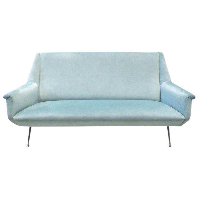 Surprising 1950S Italian Marco Zanuso Style Velvet Sofa For Sale Sofa Machost Co Dining Chair Design Ideas Machostcouk