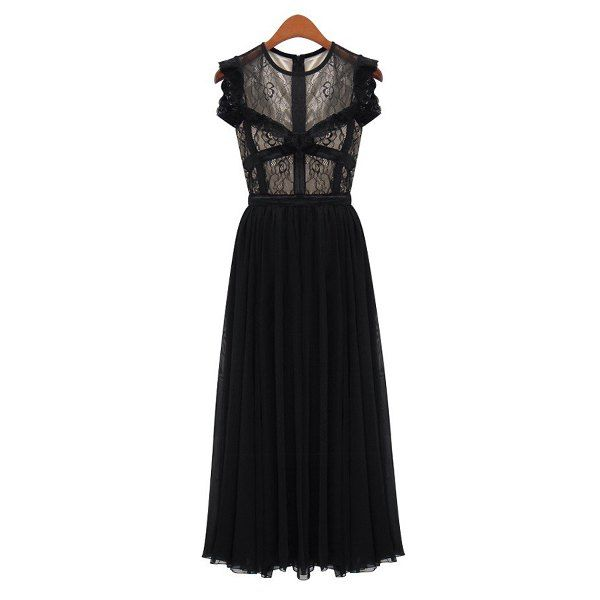 Fashionable Round Collar Lacework Splicing Pleated Sleeveless Women's Maxi Dress