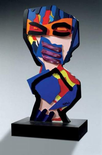 Karel Appel sculpture. A childlike sculpture simplifying the figure into the most basic shapes, as a child might break it down in a drawing. Childlike colours are not true to life but childlike bringing disorder to the figure. The freedom of the child's imagination.