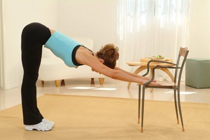 set of exercises. relief for stiff neck and upper back