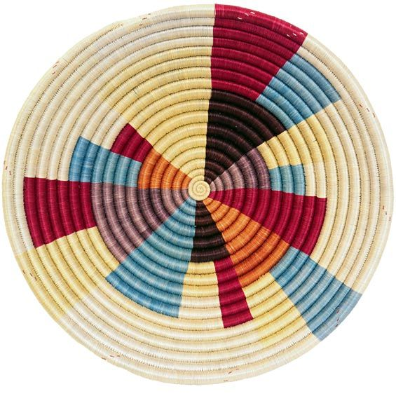 African Basket - Rwanda Sisal Coil Weave Bowl - 12 Inches Across - #33835