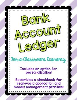 FREEBIE Bank Account Ledger for a Classroom Economy! Great way for kids to keep track of their deposits and withdrawals!