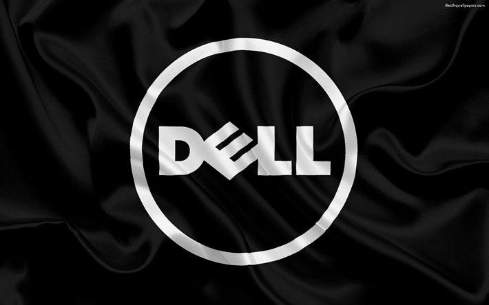 Télécharger fonds d'écran Dell, de soie noire d'arrière-plan, le logo Dell, emblème