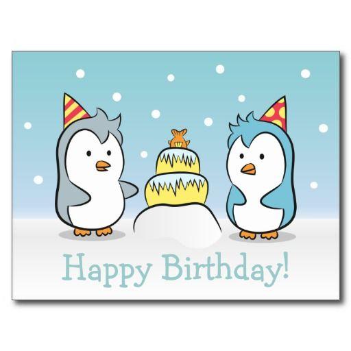 Cute Cartoon - Penguins Birthday Celebration Post Cards