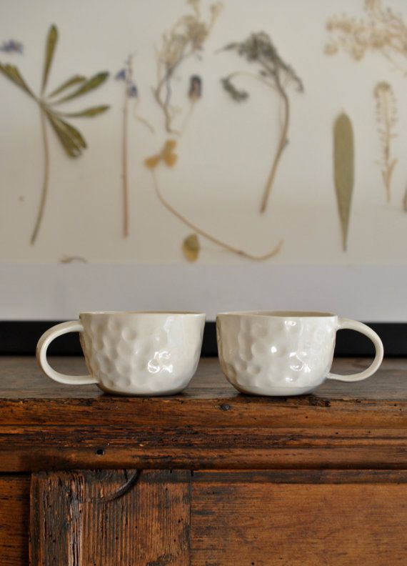 "Set of 2 Porcelain Pinch Pot Tea Cups via covetandginger on etsy. Free shipping using code ""fledgling"" at checkout."