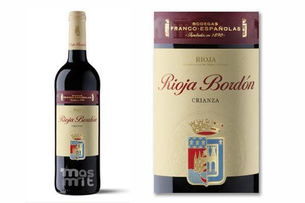 Vino Rioja Bordón Crianza, de Bodegas Franco-españolas. Un vino de variedades Tempranillo y Garnacha. Un medalla de oro reconocido a nivel internacional.