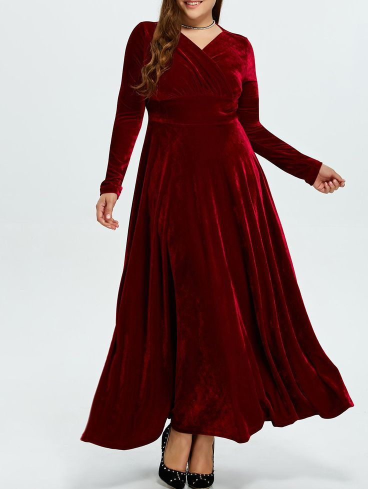 Plus Size Long Sleeve Maxi Velvet Dress in Wine Red | Sammydress.com