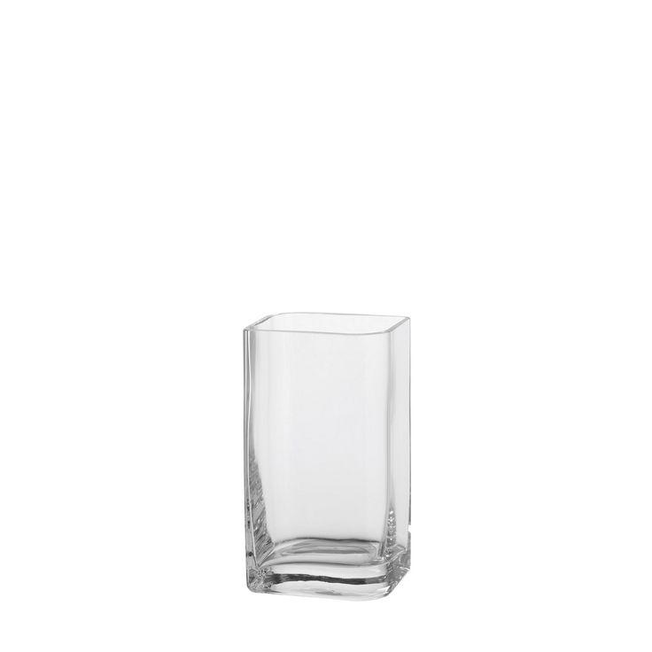 Vase+20x11+Lucca+-+Perfekt+für+Individualisten!+Denn+die+Vasen,+Schalen+und+Tischlichter+der+Serie+'lucca'+lassen+sich+immer+wieder+neu+zusammenstellen+und+dekorieren.+Das+rauchschwarze,+durchgefärbte+Glas+der+Platten+wirkt+in+Kombination+mit+dem+Klarglas+der+Vasen+und+Tischlichter+besonders+elegant,+während+die+Form+Dynamik+in+jedes+Ambiente+bringt.+Klarglasvaseausgefallene+Formin+4+Größen+erhältlichGröße+(B/H/T):+110/200/95mm