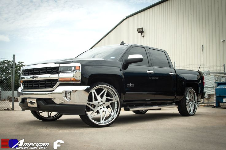 """2016 Chevrolet Silverado Nation complete with Custom Built 28"""" Finestro Forgiato Wheels along with Lexani Tires only by the best American Wheel And Tire http://forgiato.com/wheels/forgiato/finestro/ We finance! No credit needed! $49 down! Instant approval! 90% approval rating! 90 day option! Call (713) 682-1085 or apply online below ->http://tinyurl.com/z4cr3do #custombuilt #forgiatowheels #forgiato #lexani #polishedsilver #truckmeet #liftedtrucks #dirtymax """