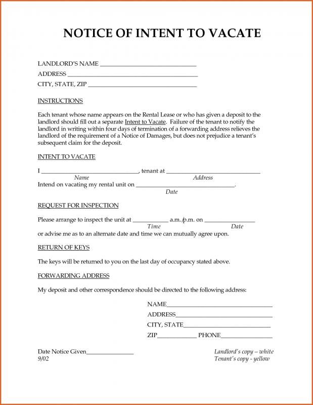 Intent To Vacate Being A Landlord Lettering Professional Cover Letter Template