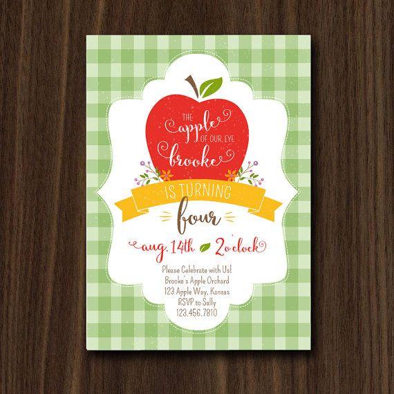 Apple Invite Apple Invitation Autumn Apple of My Eye by maydetails