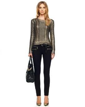 -44B2 MICHAEL Michael Kors  Foiled Fisherman Sweater & Rocker Zip-Pocket Jeans