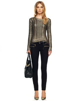 -44B2 MICHAEL Michael Kors  Foiled Fisherman Sweater & Rocker Zip-Pocket Jeans