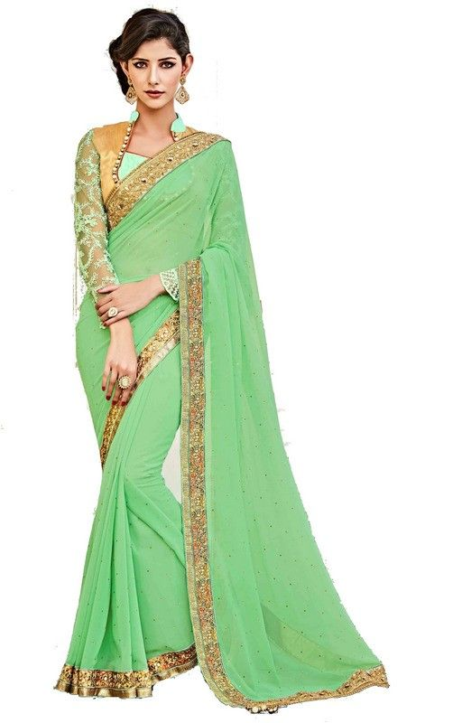 Sea Green Colour Georgette Designer Party Wear Saree