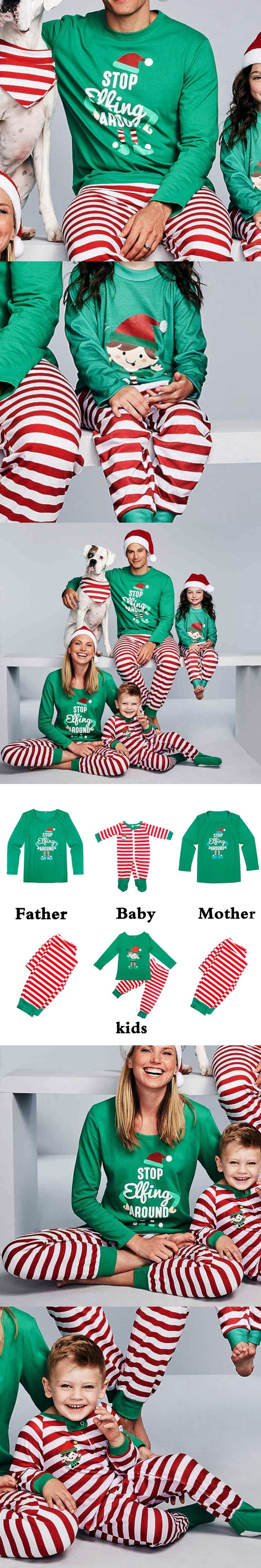 2017 New Hot Family Christmas Pajamas Matching Christmas Look Christmas Print Parents Set 4Kinds Warm Clothes  For Family