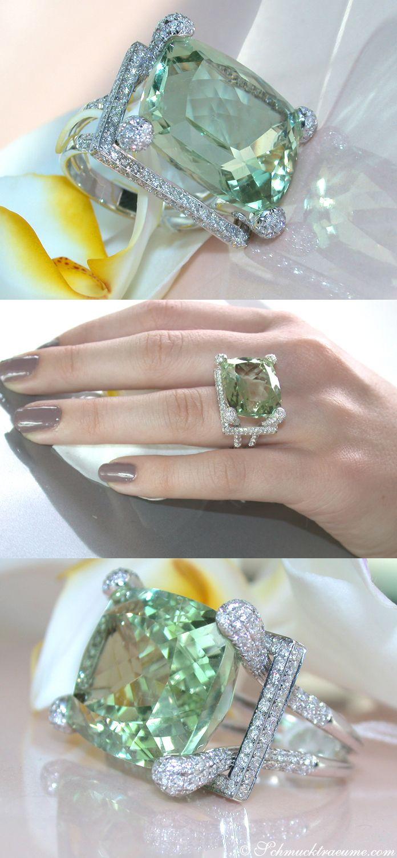 Glamorous: Huge Prasiolite (22,13 cts.) Diamond (1,78 cts. G-VS1) Ring, WG-18K -- Find out: schmucktraeume.com - Visit us on FB: https://www.facebook.com/pages/Noble-Juwelen/150871984924926 - Any questions? Contact us: info@schmucktraeume.com
