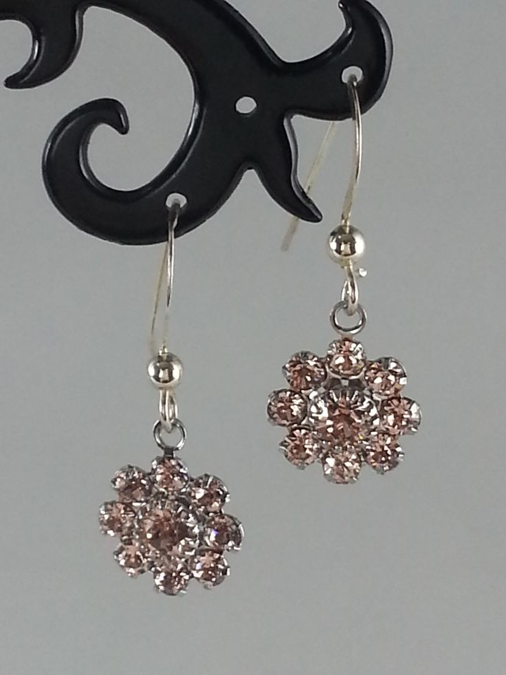 Pink Swarovski crystals on sterling silver earrings