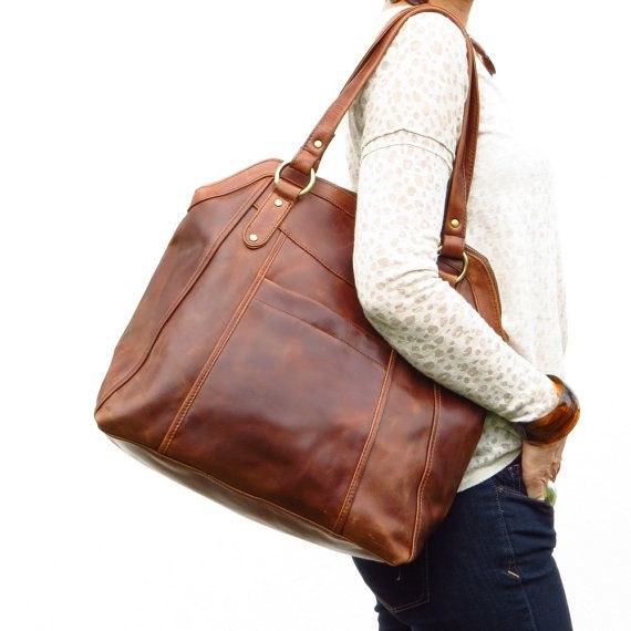 This large brown handbag tote is crafted from beautiful oiled ...