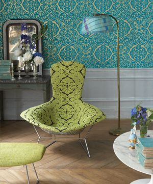 wow: Turquoise Wallpaper, Colors Combos, Modern Chairs, Design Guild, Guild Chairs, Color Combos, Fabrics Wallpapers, Green Chairs, Green Fabrics