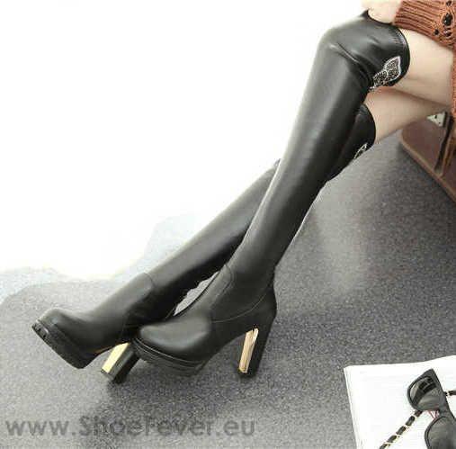 Cizme peste genunchi cu toc inalt Posh @ShoeFever.eu
