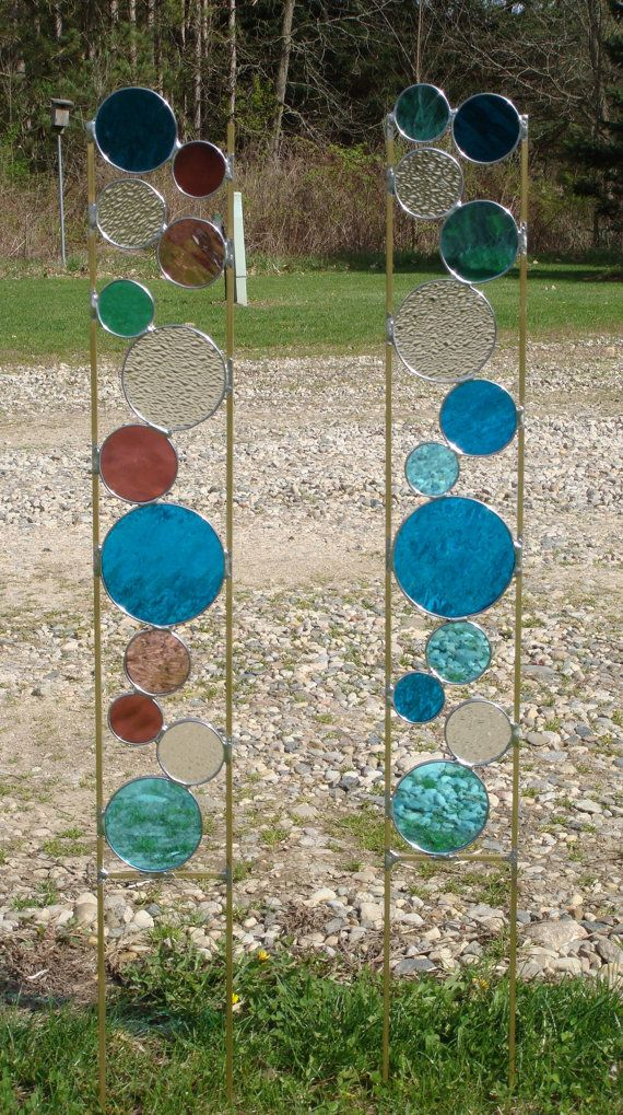 Stained Glass Garden Stake - I think I may make one with leaf shapes.