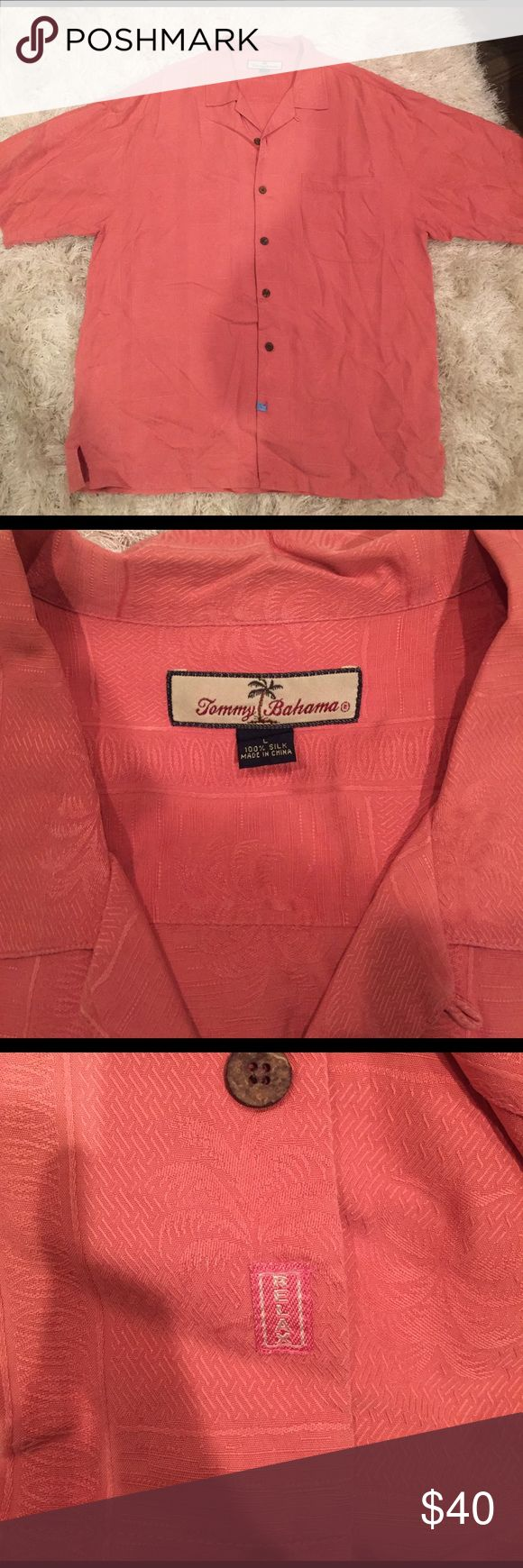 """Tommy Bahamas 100% silk """"Relax"""" shirt Tommy Bahama 100% silk breeze. Salmon colored with subtle palm tree print. Just dry cleaned. Size Large. Button up. Comes with two replaceable buttons. In really great condition! Tommy Bahama Shirts"""