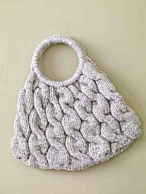 """""""Cable Ready Bag"""". Lion Brand Wool-Ease Thick  Quick yarn, 3 balls in Wheat. 6.5 mm needles and 6.5 mm/K crochet hook."""