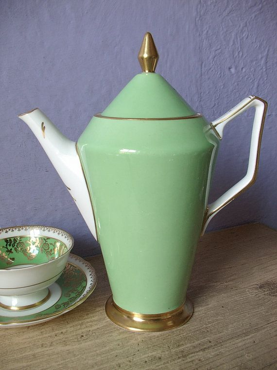 Antique 1930's Art Deco teapot, Grosvenor green china teapot, English teapot, Green and gold teapot