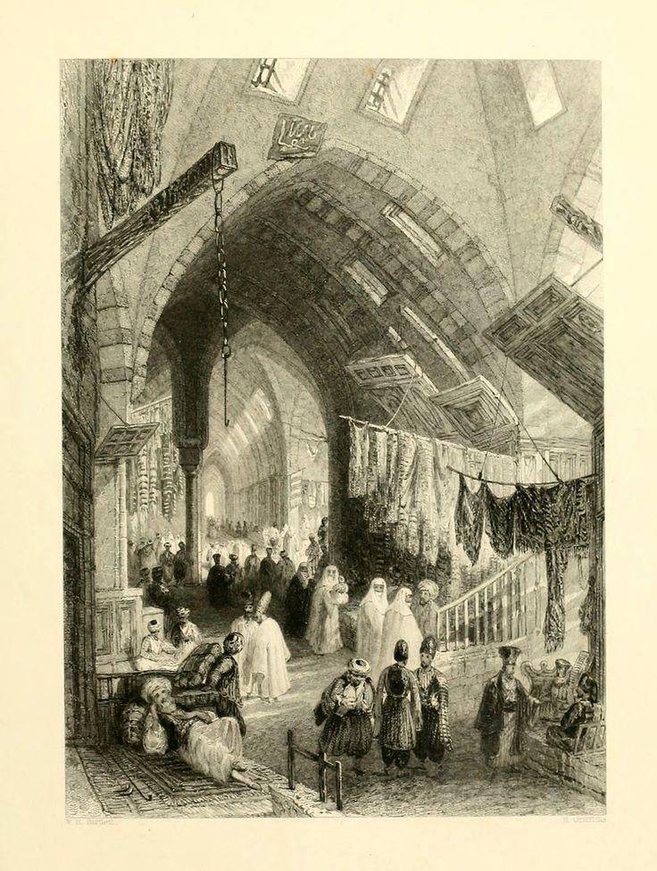 Kapalıçarşı'da Kumaş Pazarı - A scene in the Tchartchi - Miss Pardoe, 'The Beauties of the Bosphorus',  Londra 1838. Çelikbaskı.  William H. Bartlett