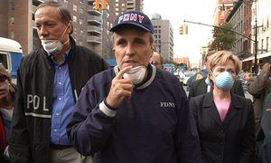 9/11 tapes reveal raw and emotional Hillary Clinton  Hillary Clinton tours the site of the World Trade Center the day after 9/11 with mayor Rudolph Giuliani and governor George Pataki.