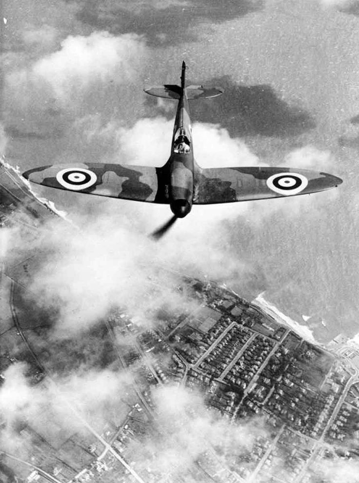 Spitfire F Mk.1 in flight viewed from slightly above