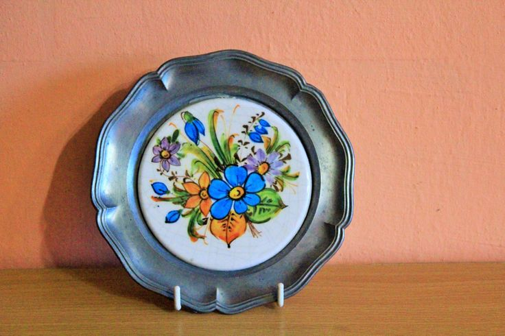 German Pewter Porcelain Plate, Floral Flowers Eduscho Kaffee Coffee Small Plate, Coaster, Wall Plaque, Ceramic Tile by Grandchildattic on Etsy