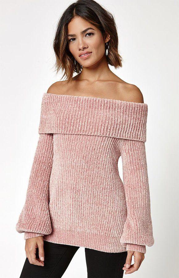 La Hearts Chenille Off-The-Shoulder Sweater