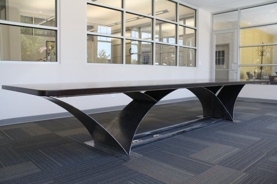 Wood and Rolled Steel Conference Table Dining by LumberingBehemoth