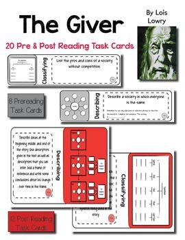 20 task cards.Use the intriguing novel, The Giver, by Lois Lowry, to teach your students how to closely analyze literature through the use of task cards. This lesson plan includes 8 pre reading task cards and 12 post reading task cards that revolve around Thinking Maps and require students to analyze character motivation, theme, symbolism, conflict, and plot / subplots.Print the task cards off on card stock and laminate, and you will be able to use this engaging resource again and again for…